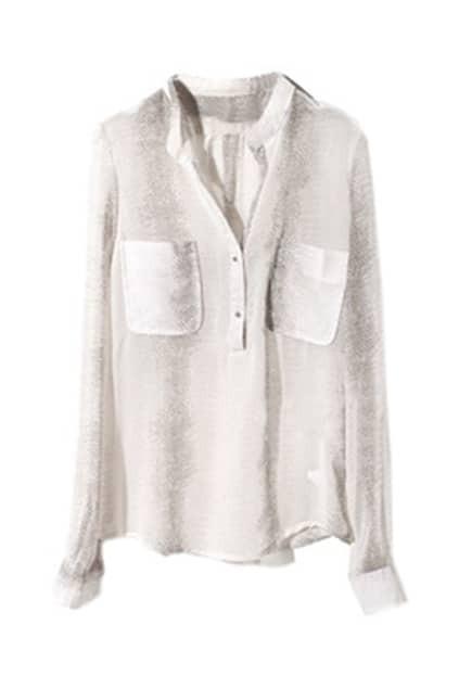 Imitation Snakeskin Pattern V-neck Grey Shirt