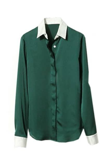 Splicing Polo Lapel Green Shirt