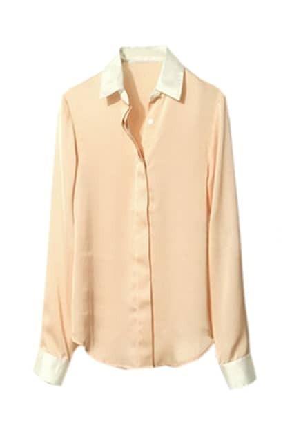 Splicing Polo Lapel Bare Pink Shirt