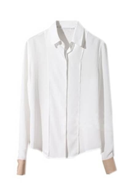 Cuff Hit Color Lapel White Shirt