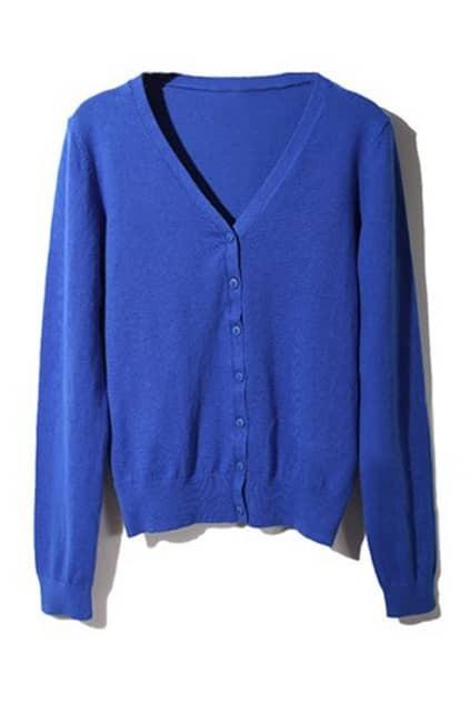 Solid Color V-neck Blue Cardigan