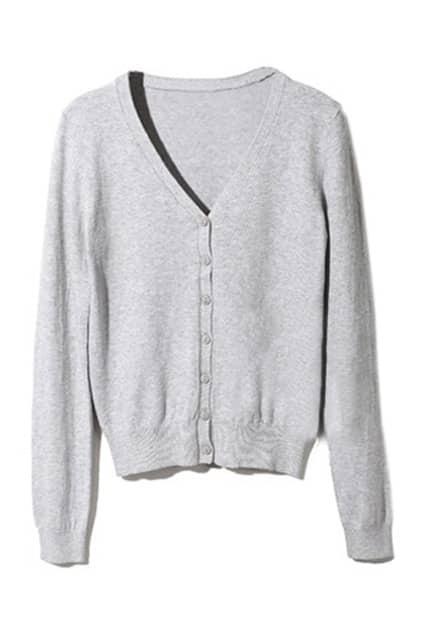 Solid Color V-neck Light Grey Cardigan