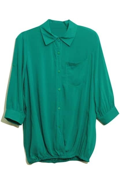 Retro Green Main Lapel Blouse