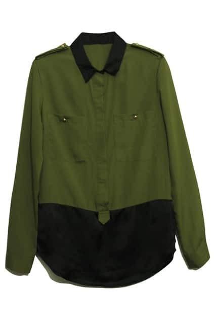 Spliced-color Shoulder Badge Army Green Shirt
