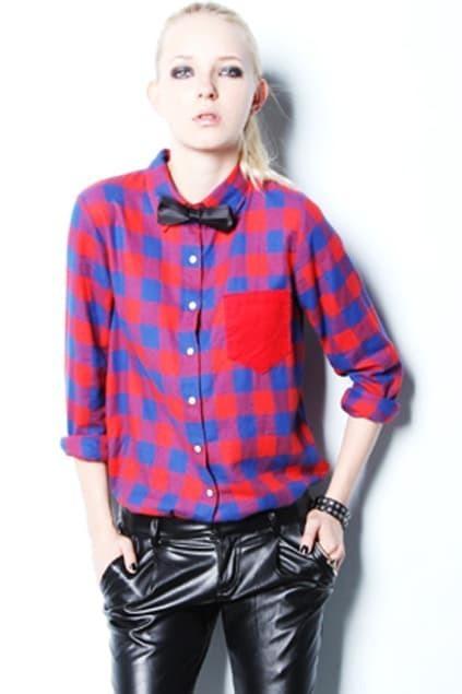 Lapel Plaid Red Shirt