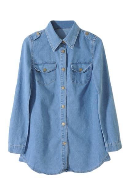 Single Button Blue Denim Blouse