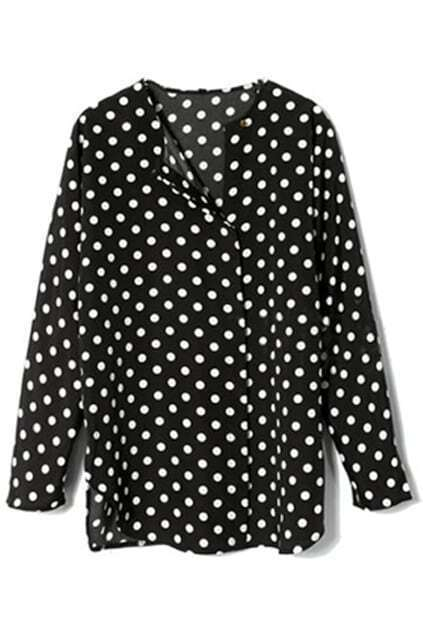 Dots Print Black Blouse