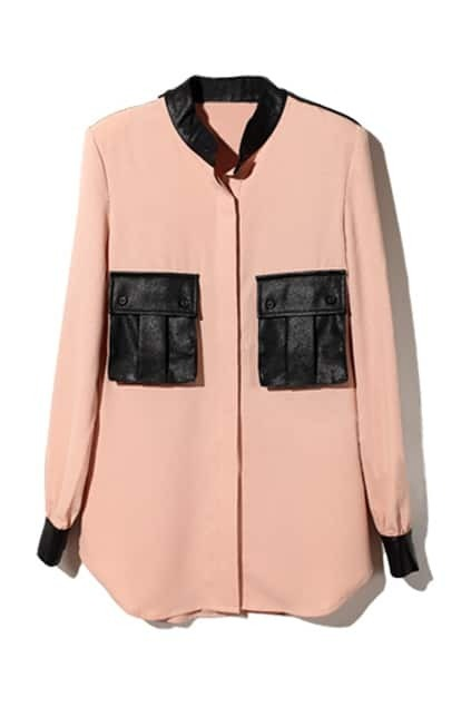 Leather Splicing Nude Pink Blouse