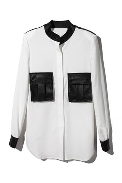 Leather Splicing White Blouse