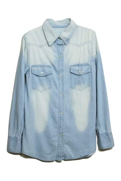 Rinse Mill-White Light-Blue Denim Blouse