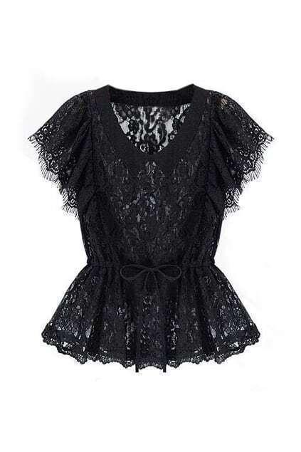 V-neck Lace Black Blouse