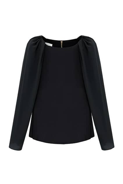 Chic Style Long Sleeve Black Blouse