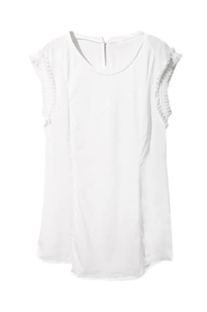 Splicing Pleated Lace Detailing White Shirt