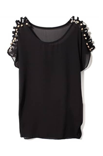 Rivets Embellished Black Chiffon Shirt