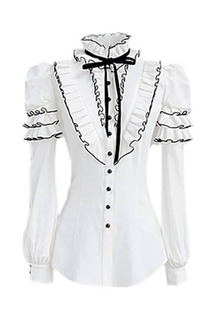 Falbala And Puff Sleeves White Shirt