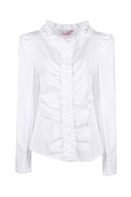 Ruffle Puff Sleeve White Blouse