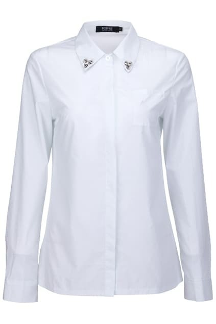 Riveted White Buttoned Shirt