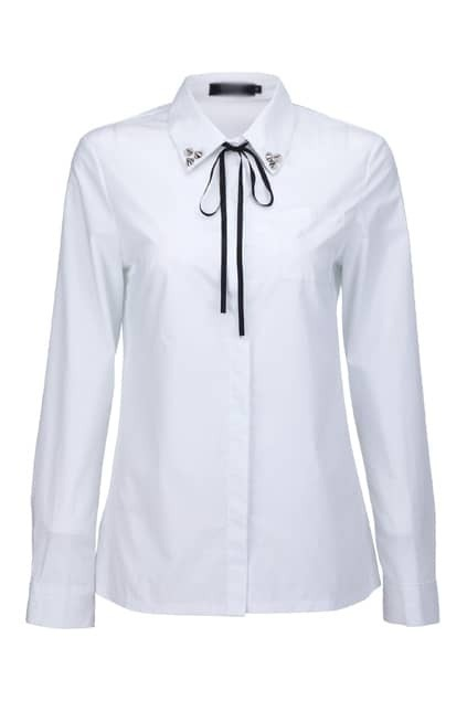 Rivet Black Ribbon White Shirt