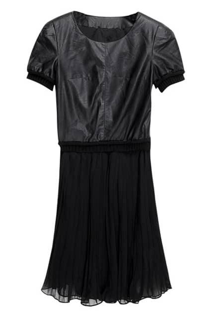 Chiffon Fake Two-piece Black Shift Dress