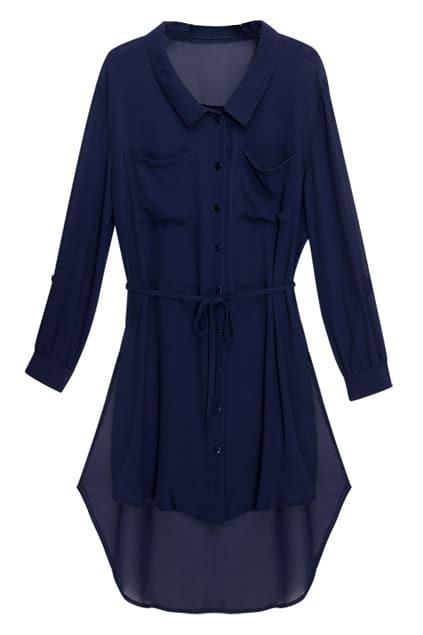 Chiffon Anomalous Dark Blue Shift Dress