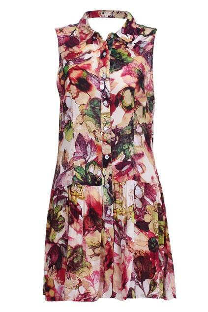 Cut-out Back Floral Shirt Dress