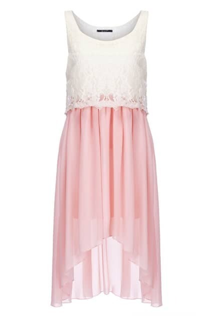 Floral Lace Overlay Anomalous Dress