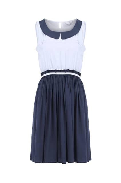 Peter Pan Collar Navy Blue Dress