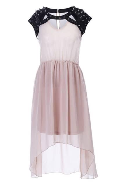 Rivets Detailed Anomalous Apricot Dress