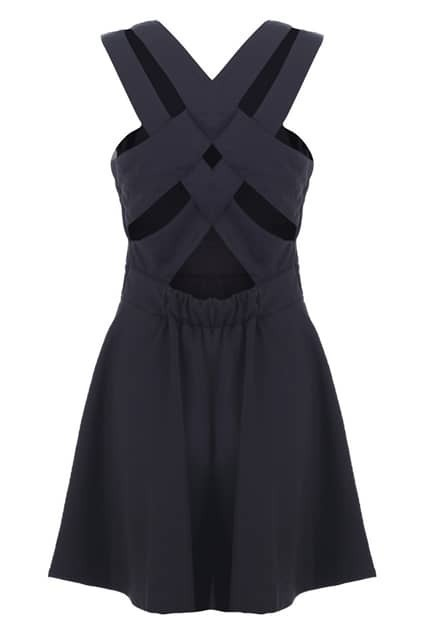 Strappy Back Black Shift Dress