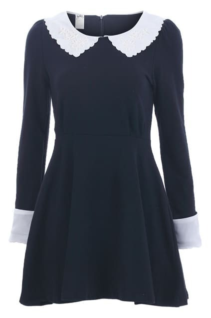 Feminine Lace Collar Black Dress