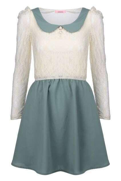 Peter Pan Collar Mint Dress