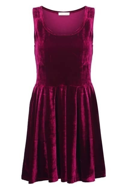 Velvet Wine Red Shift Dress