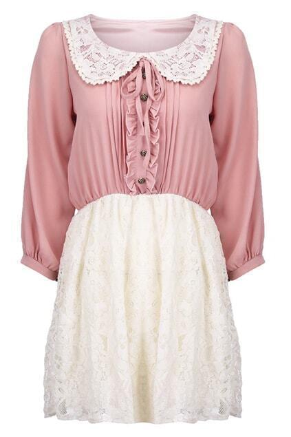 Lace Collar Pink Shift Dress