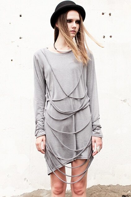 Slanting Stripes Grey Line Dress