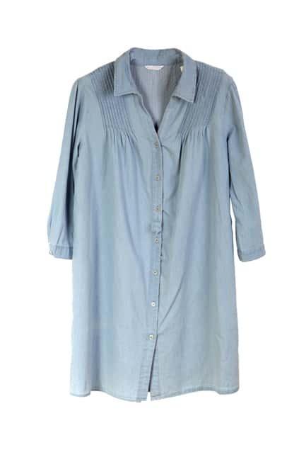 Pleated Oversized Light-blue Denim Dress