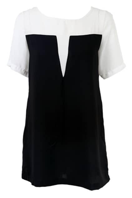 Splicing Chiffon White-black Dress