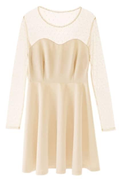 Lace Dots Apricot Dress
