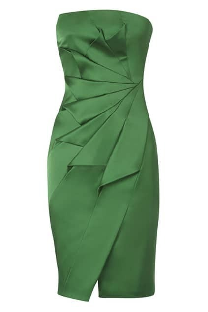 Pleats Green Tube Dress