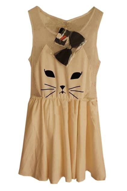 Lovely Cat White Mesh Dress