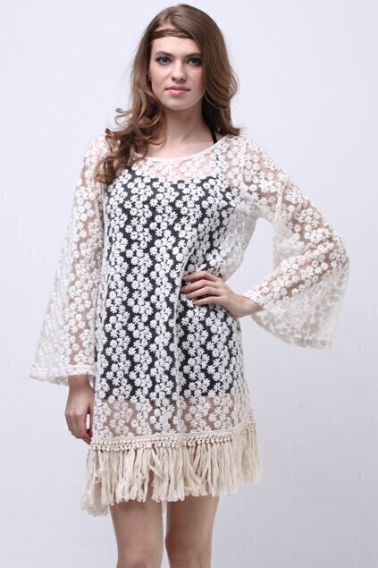 All-over Lace Tasselled Dress