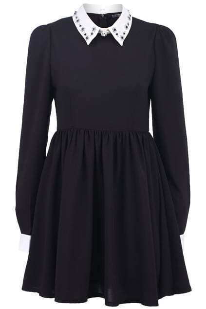 Beaded Peter Pan Collar Black Dress