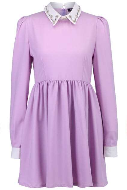 Beaded Peter Pan Collar Light-Purple Dress