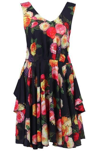 Rose Print Cut-Out Dress