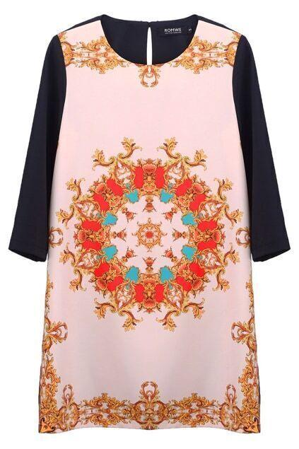 Baroque Print Basic Dress