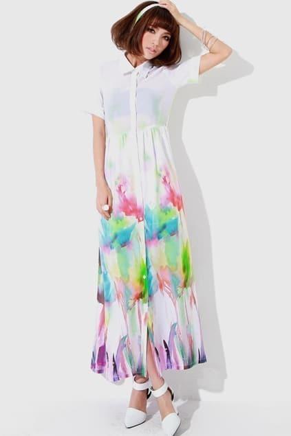 Multi-colour Print Chiffon Shirt Dress