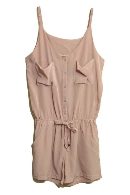 Sleeveless Drawstring Nude Dress