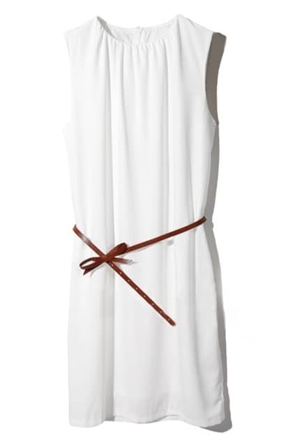 Pleats Detailed Sleeveless White Dress