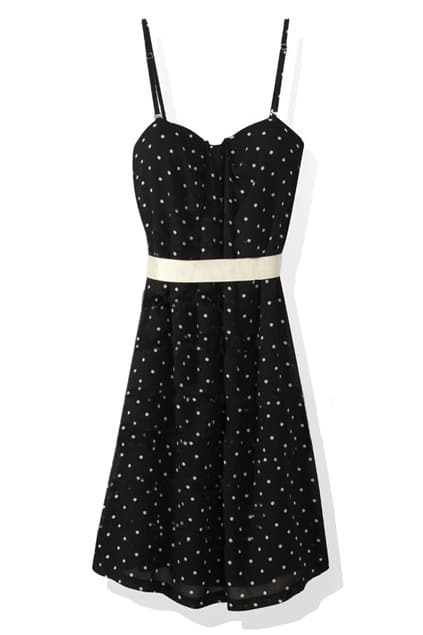 Polka Dots Black Suspender Dress