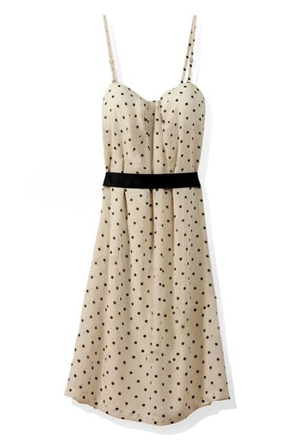 Polka Dots Cream Suspender Dress