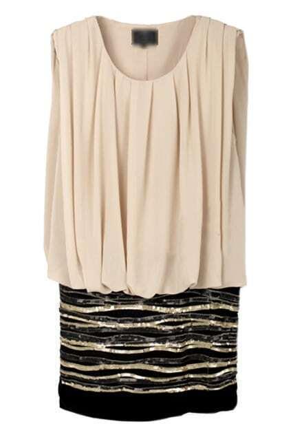 Striped Sequins Embellished Apricot Dress